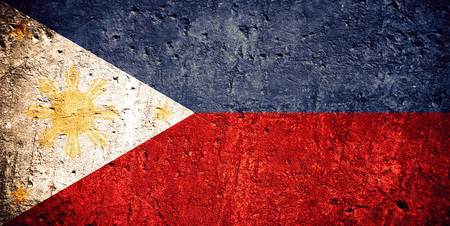 Photo for flag of Philippines or Philippine flag on scratched rough texture - Royalty Free Image