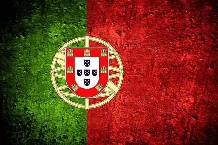 Photo for flag of Portugal or Portuguese banner on scratched rough texture - Royalty Free Image