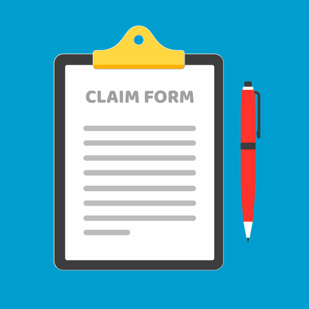 Illustration pour Clipboard with claim form on it, paper sheets, red pen isolated on light blue background. Concept of fill out or online survey - image libre de droit