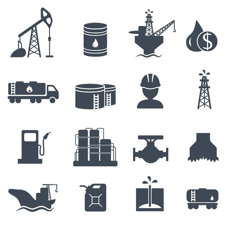 Ilustración de Set of oil and gas grey icons Petroleum industry - Imagen libre de derechos