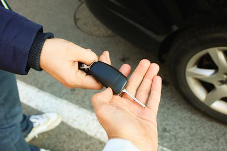 Foto de Buyer taking car key - Imagen libre de derechos