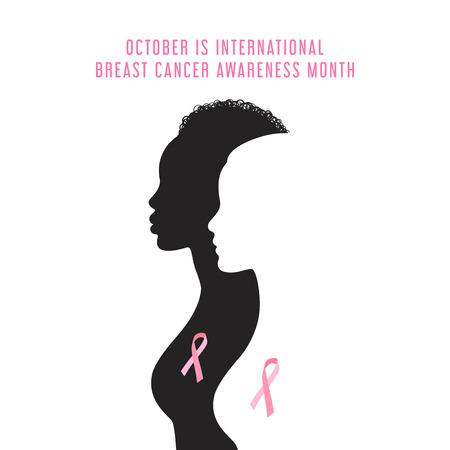Ilustración de Breast cancer awareness month card with women silhouette Vector illustration. - Imagen libre de derechos