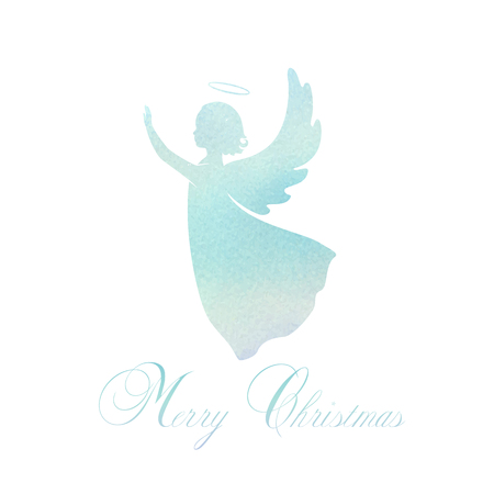 Illustration pour Angel silhouette and nimbus. Beautiful Flying angel and Merry Christmas calligraphy font text on a Watercolor blue background. - image libre de droit