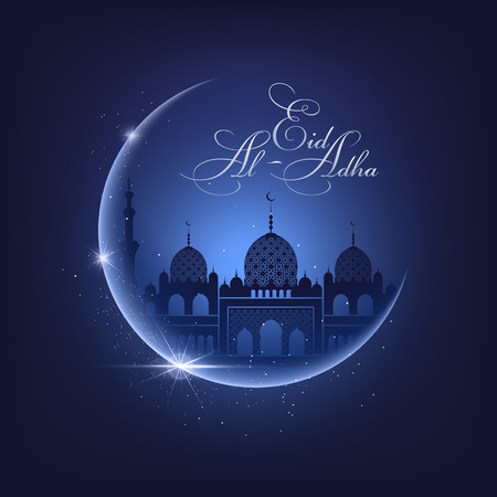 Ilustración de Shine moon, mosque silhouette on a night blue sky background and Eid Al Adha calligraphic congratulation. Vector Illustration for greeting card, poster and banner - Imagen libre de derechos