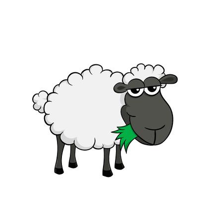 Ilustración de Isolated illustration of a cartoon sheep eating grass - Imagen libre de derechos