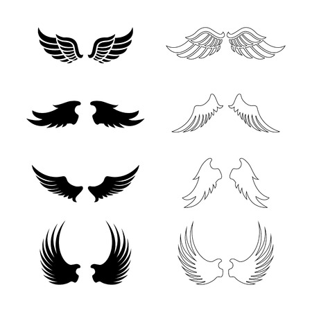 Illustration for Set of vector wings - decorative design elements - black silhouettes - Royalty Free Image