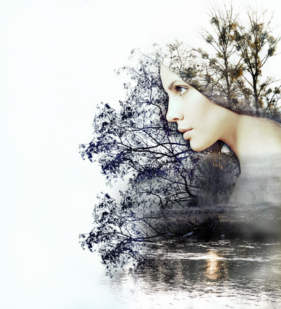Foto de abstract double exposure of woman and beauty of nature at the sunset on the river, abstract concept - Imagen libre de derechos