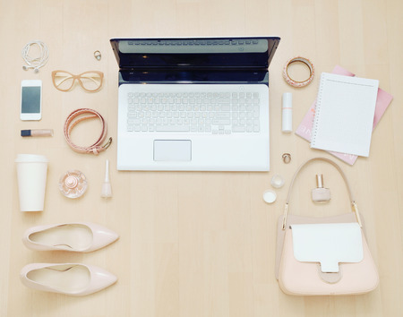 Photo pour stylish casual set of computer and stuff for urban woman in soft colors, fashion concept - image libre de droit