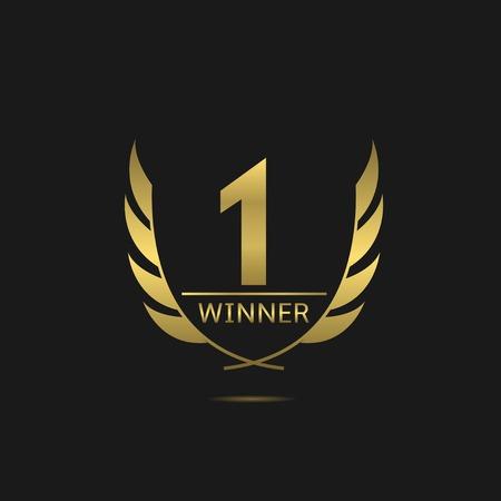 Illustration for Golden number one icon. Victory award best winner concept. Laurel wreath symbol - Royalty Free Image