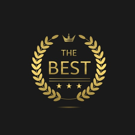 Illustration for The Best award label. Golden laurel wreath with crown symbol - Royalty Free Image