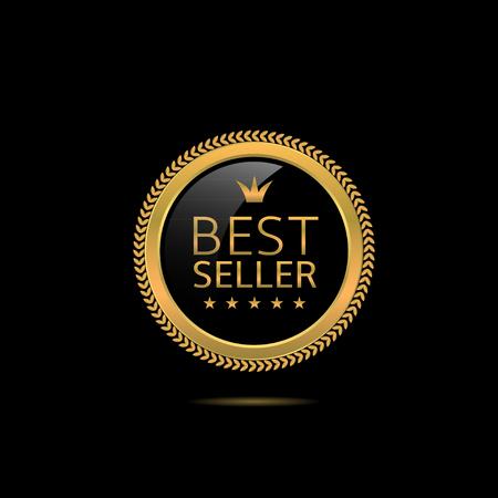 Illustration pour Best seller label. Golden award badge, Vector illustration - image libre de droit
