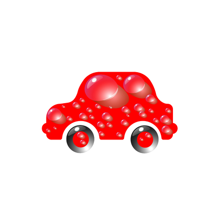 The most top-End toy car red color in drops of water. Car wash design vector abstract modern illustration.