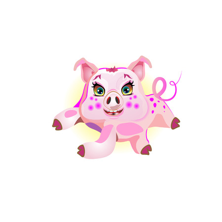 Ilustración de Cute pig lying, illustration cheerful. Funny vector - Imagen libre de derechos