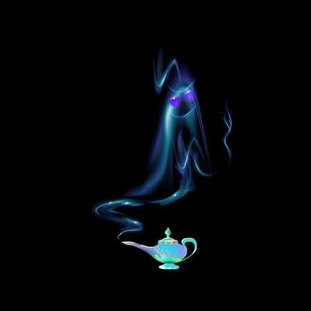 Illustrazione per Azure, turquoise magic lamp and silhouette of an Arabic genie on background black. Tale. Cartoon vector illustration light blue color. Three wishes east culture, arabian legend. - Immagini Royalty Free