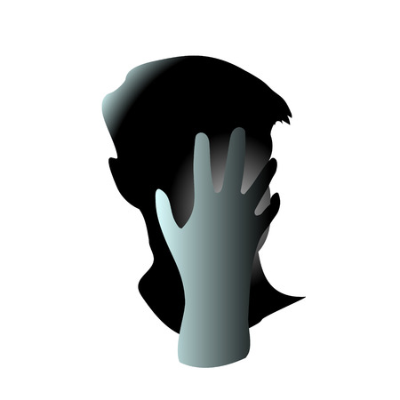 Illustration pour Close-up of his hand closed his men face. Head hurts and It may be because of regret or anxiety and stress. Vector art drawing illustration. - image libre de droit