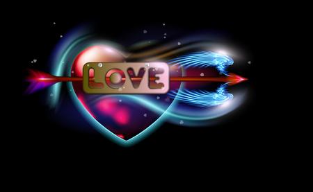 Ilustración de Glowing red fantasy arrow of Cupid pierced inscription love, heart. Amur attribute of Valentines day love, metal label with screws. Ardent illuminated, luxury glow colorful design vector illustration. - Imagen libre de derechos