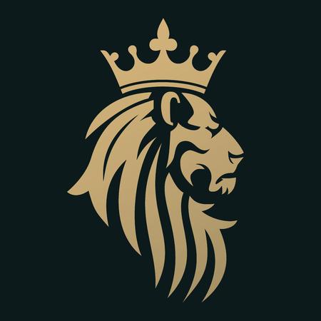 Illustration pour A golden lion with a crown. Emblem for a luxury brand or business company. A symbol of royalty. - image libre de droit