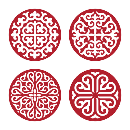 Ilustración de Traditional ornament of Asian nomads: Mongols, Kazakhs, Kirghiz, Bashkirs, Tatars. - Imagen libre de derechos