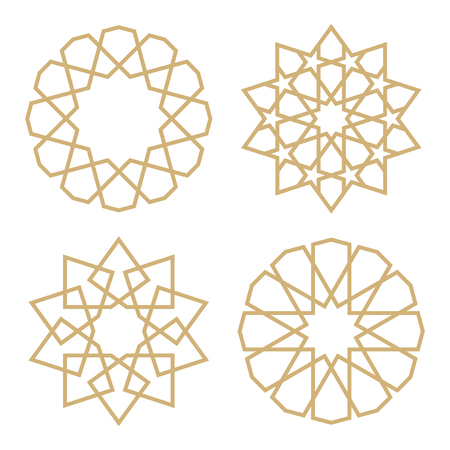 Illustration pour A set of stars in the Arab style. Geometric pattern in the form of traditional Islamic stars - image libre de droit