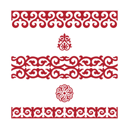 Illustration for Traditional ornament of middle Asia for decoration of clothes and yurts, nomadic ornament. - Royalty Free Image