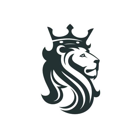 Ilustración de The head of a lion with a royal crown. Vector illustration or template for business - Imagen libre de derechos