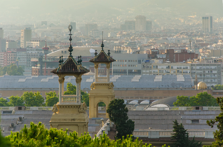 Foto de Beautiful view of the sights of Barcelona from Montjuic - Imagen libre de derechos