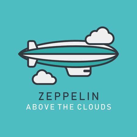 Illustration pour Flat image of zeppelin in lineart style. Airship blimp zeppelin - image libre de droit