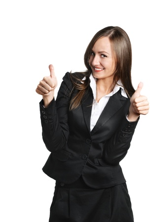 Happy business woman isolated over white