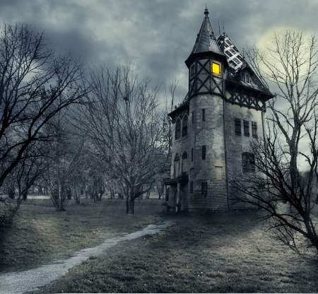 Photo for Halloween design with haunted house - Royalty Free Image