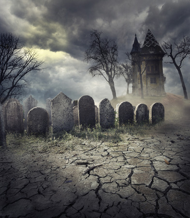 Photo for Hunted house on spooky graveyard - Royalty Free Image