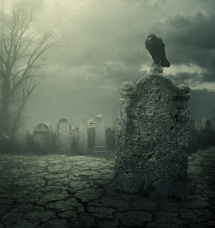 Photo for Graveyard at night. Halloween concept. Grain texture added. - Royalty Free Image