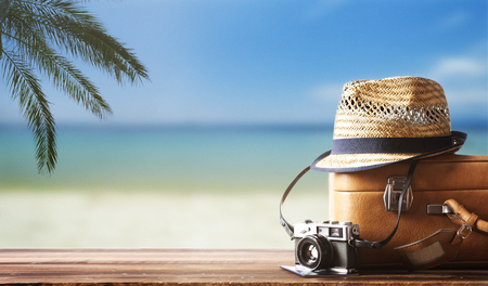 Foto de Vintage suitcase, hipster hat, photo camera and passport on wooden dack. Tropical sea, beach and palm three in background. Summer holiday traveling concept design banner with copyspace. - Imagen libre de derechos