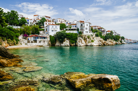 Photo pour Old town view of Skiathos island, Sporades, Greece. - image libre de droit