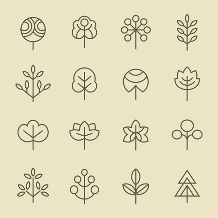 Illustration for Trees line icon set - Royalty Free Image