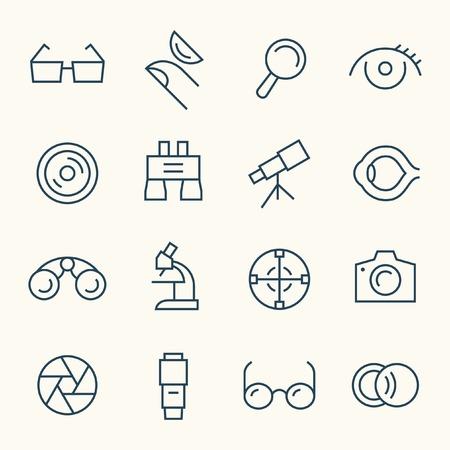 Illustration pour Optical line icon set - image libre de droit