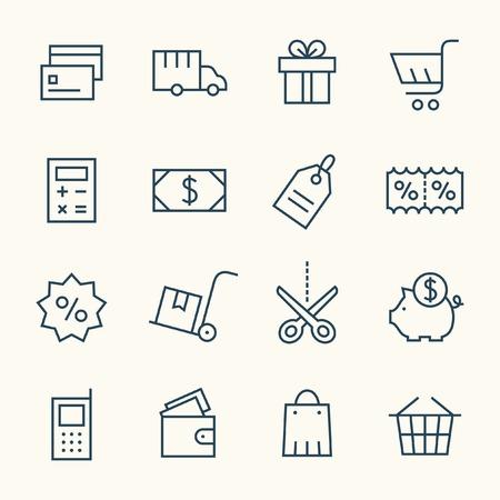 Illustration pour Shopping line icon set - image libre de droit