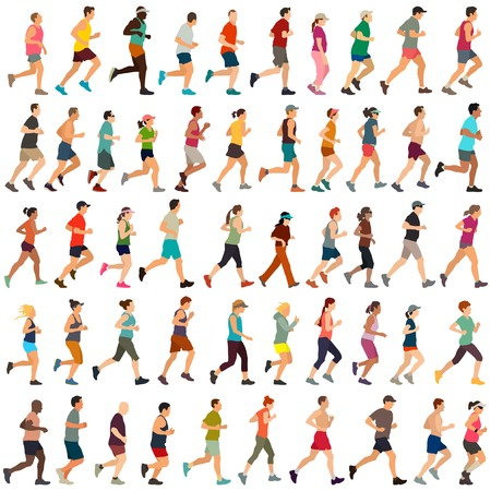 Ilustración de Large collection of vector runners - Imagen libre de derechos