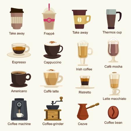 Ilustración de Coffee types vector set - Imagen libre de derechos