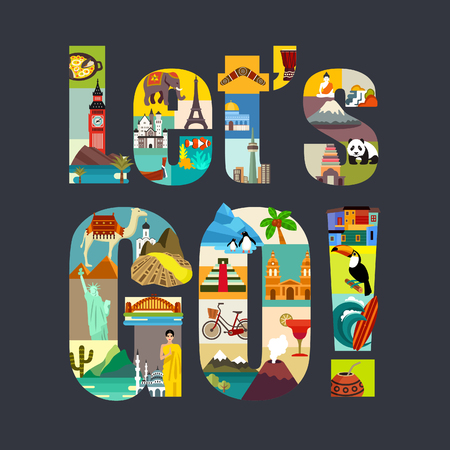 Illustration pour Lets Go. Travel Around the World theme vector illustration - image libre de droit