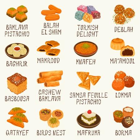 Ilustración de Different Arabic sweets - Imagen libre de derechos
