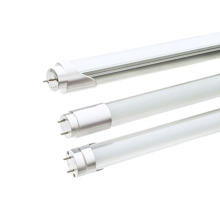 Foto de LED tube to replace T5 , fluorescence lamp on white  - Imagen libre de derechos