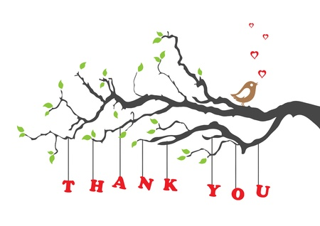 Illustration for Thank you greeting card with bird - Royalty Free Image