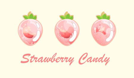 Illustration pour Strawberry is gradually filled with sweet filling on a light background. Vector illustration - image libre de droit