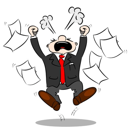 An angry cartoon businessman with blank paper flying around