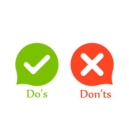 Illustration pour Do's don'ts signs in speech bubbles. Vector - image libre de droit