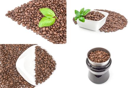 Foto de Collage of closeup of coffee beans close-up isolated on white background - Imagen libre de derechos