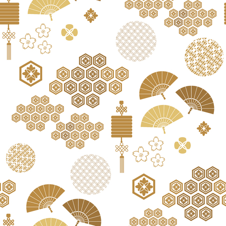 Illustration for Beautiful japanese seamless  pattern with asian elements and flowers. Vector unique seamless asian texture.For printing on packaging, textiles, paper,  manufacturing, wallpapers,bags, scrapbooking. - Royalty Free Image