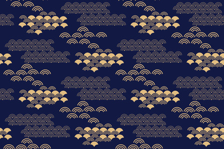 Ilustración de Beautiful japanese seamless pattern with clouds, waves. Japanese, chinese elements. Vector seamless asian texture. For printing on packaging, textiles, paper,fabric,  manufacturing, wallpapers. - Imagen libre de derechos