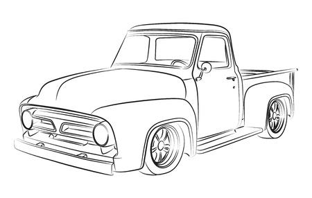 Illustration pour Old pickup digital drawing - image libre de droit