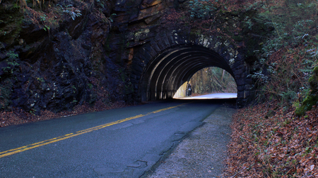 Photo for Perspective Street Photo of a Empty Tunnel Road on the Mountain Side. - Royalty Free Image